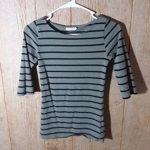 Green striped half sleeve shirt